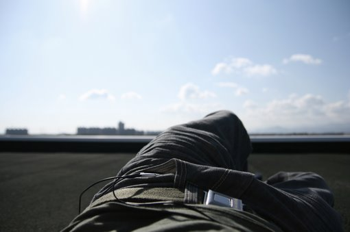Relaxing on the roof of my dorm
